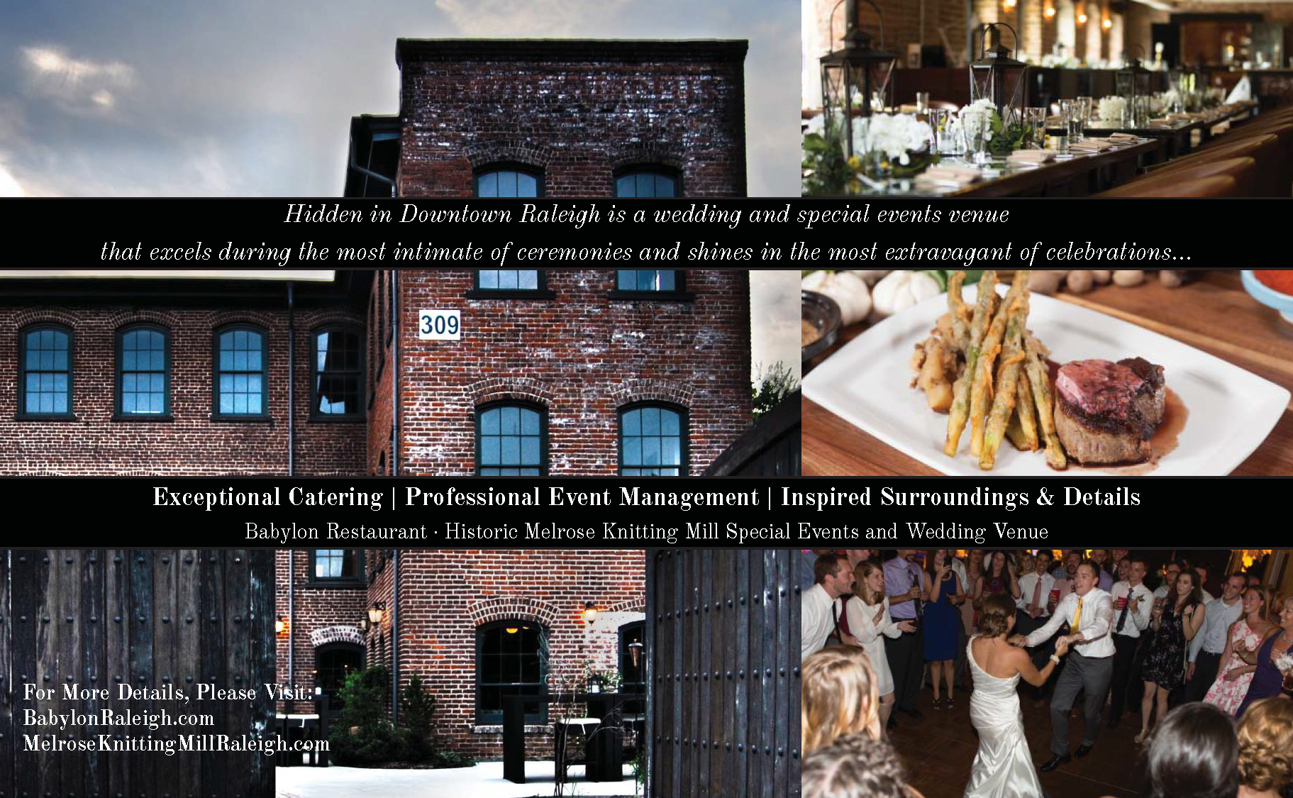 """Print ad designed for Babylon Restaurant to be included in Triangle Downtowner Magazine's """"weddings and special events"""" issue"""