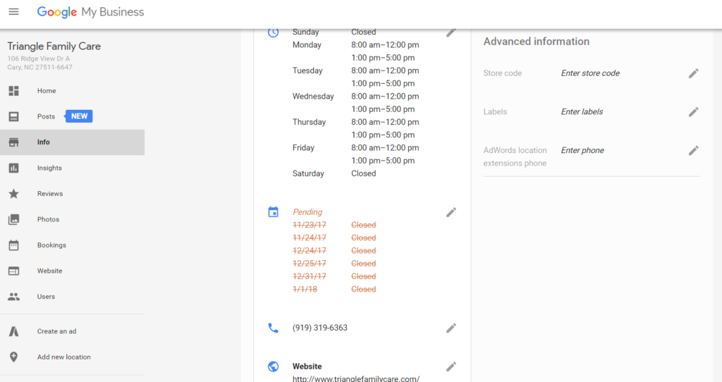 Updating your holiday hours on Google My Business