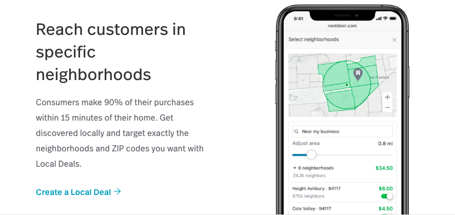 Guide to creating a local deal on Nextdoor